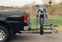 Tilt-A-Rack 2 Bike Holder With One Bike Loaded Side View