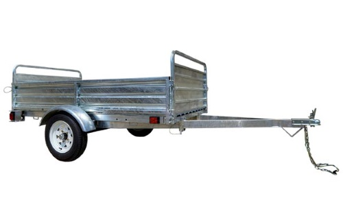 K2 5x7 Galvanized Utility Trailer Sides Folded Up