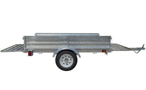 K2 5x7 Galvanized Utility Trailer Unfolded