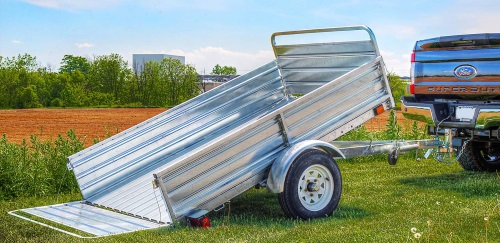 K2 5x7 Galvanized Utility Trailer Tilted
